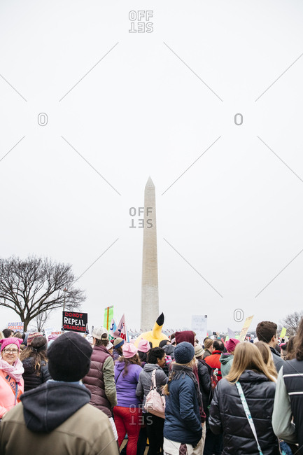 Washington, DC - January 21, 2017: People protesting near the Washington Monument during the Women's March