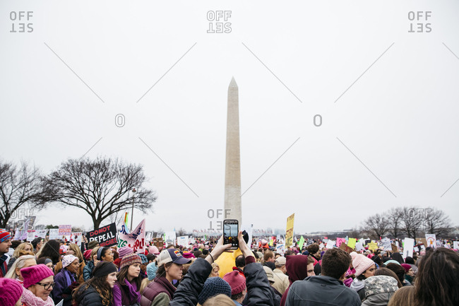 Washington, DC - January 21, 2017: People demonstrating near the Washington Monument during the Women's March