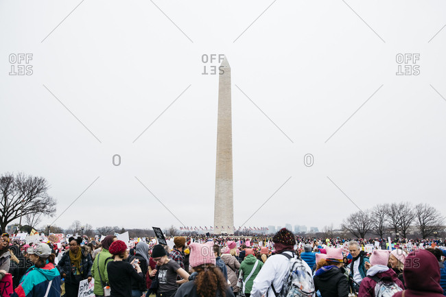 Washington, DC - January 21, 2017: Protestors at the Washington Monument during the Women's March