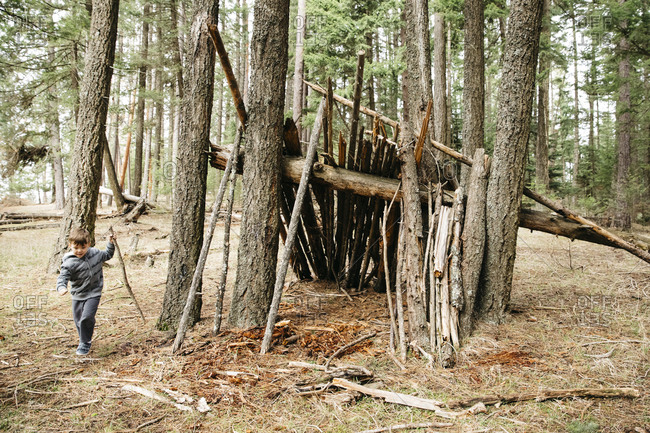 Boy playing near a stick fort in the forest