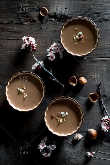 Chocolate panna cotta and flowers