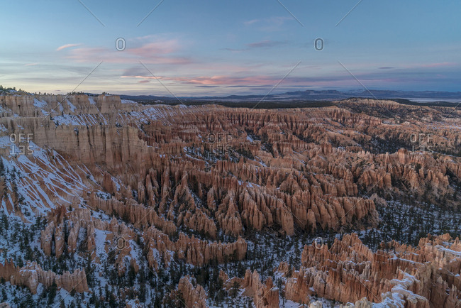 Scenic view of Bryce Canyon National Park against sky at dusk