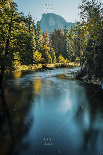 Scenic view of river flowing at Yosemite National Park