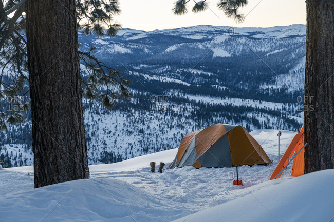 Tent on snowcapped mountain at Yosemite National Park