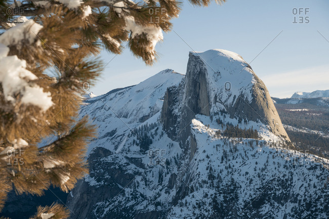 Majestic view of snowcapped mountain at Yosemite National Park