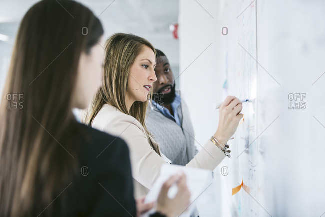 Business people looking at businesswoman writing notes on whiteboard in office