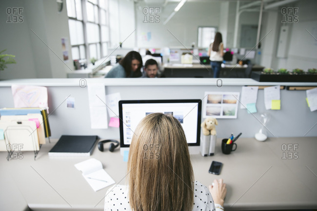 Rear view of businesswoman using desktop computer with colleagues in background