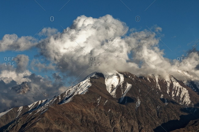 Mountain peaks with clouds in Pakistan