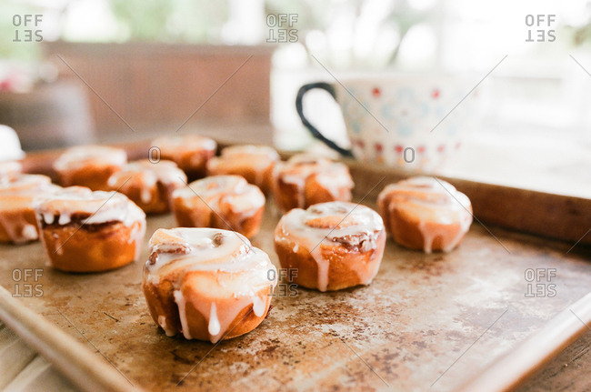 Iced cinnamon rolls cooling on tray