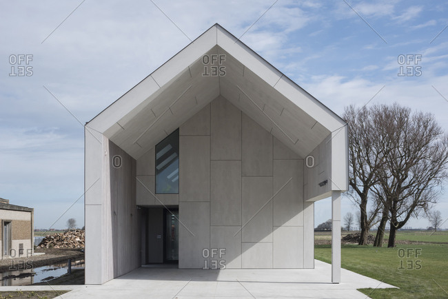 Facade of a barn converted into an upscale, modern home