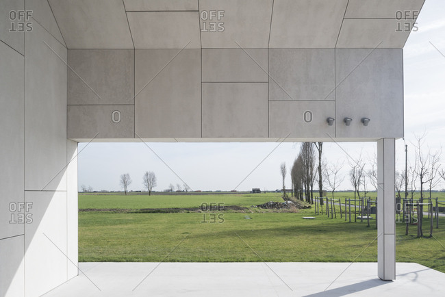 View of Belgian countryside from modern home