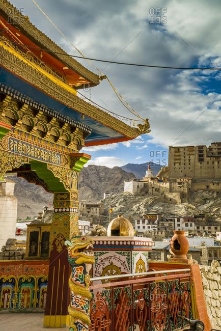 India, Ladakh, Leh, sacred wheel and the Palace