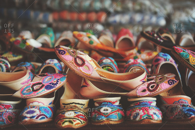 Traditional Arabian slippers on display in a souk in Dubai