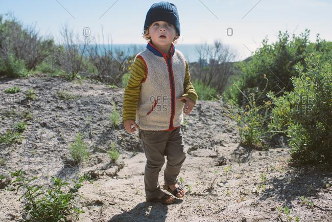 Boy walking beach trail