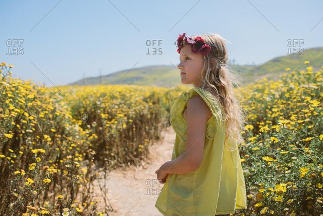 Girl walking through wildflowers