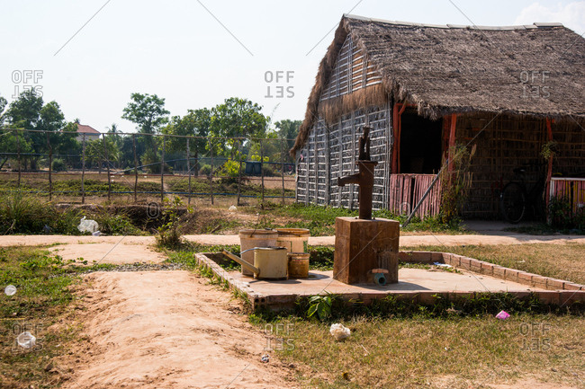 Siem Reap, Cambodia - March 31, 2015: Rural school building, Siem Reap, Cambodia