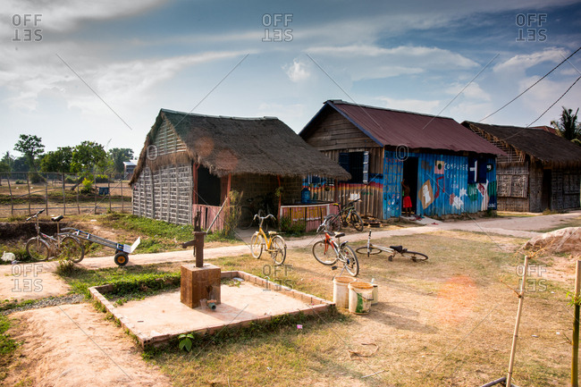Siem Reap, Cambodia - March 31, 2015: Rural Cambodian school yard