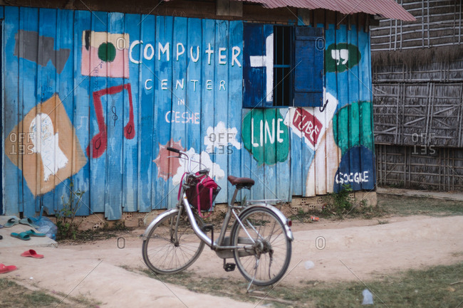 Siem Reap, Cambodia - April 1, 2015: Bicycle in front of a computer classroom