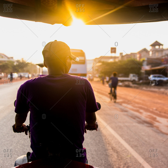 Tuktuk ride at sunrise - Siem Reap, Cambodia