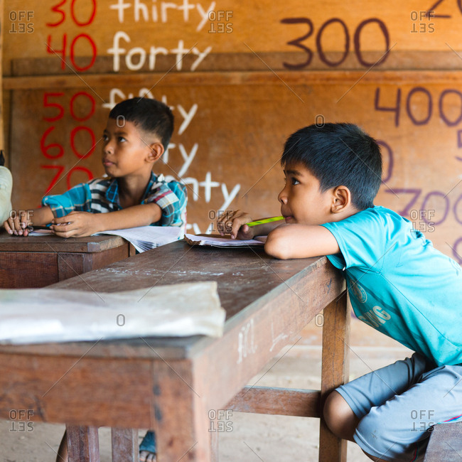 Siem Reap, Cambodia - April 1, 2015: Candid portrait of a student