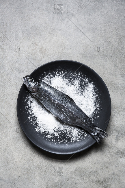 Fish on a black plate with salt