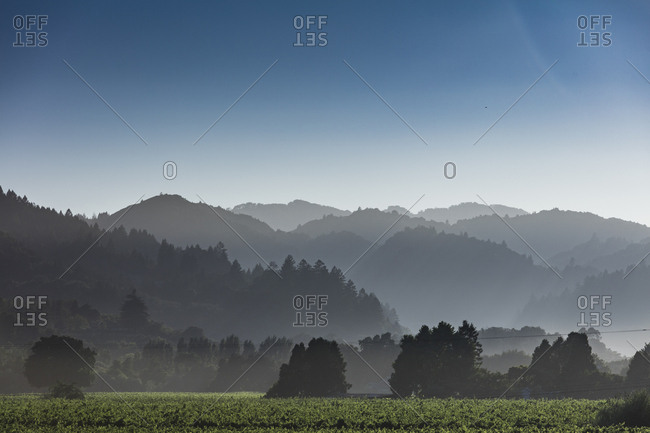 Mountains ranges stack on top of each other surrounding the Dry Creek Valley in Healdsburg, California