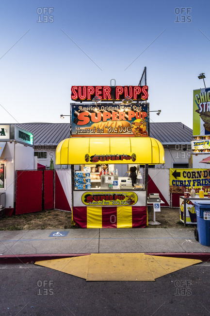 Sonoma County, California - July 27, 2016: Corn dogs for sale at the annual Sonoma County Fair in Santa Rosa, California.