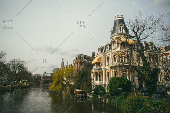 Old mansion overlooking a canal