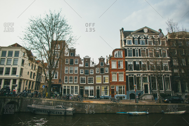 Homes overlooking a canal in Amsterdam