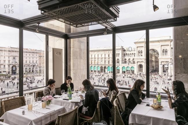 Milano, Italy - February 17, 2017: Women dining at the Giacomo Arengario