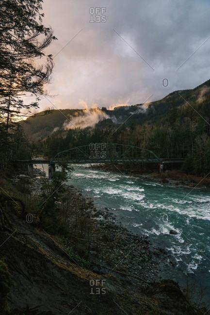 Bridge over mountain river