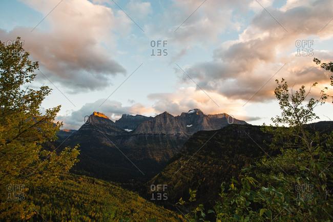 Dusk over a mountain scene