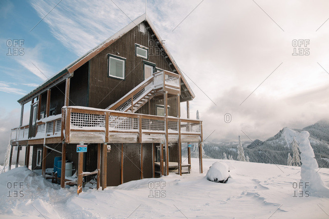 Cabin on a snowy mountain