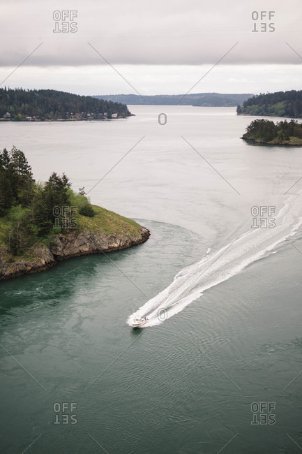 Boat speeding through forested inlet