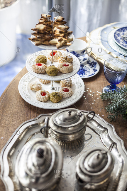 Elevated view of holiday table with tiered cookie plate