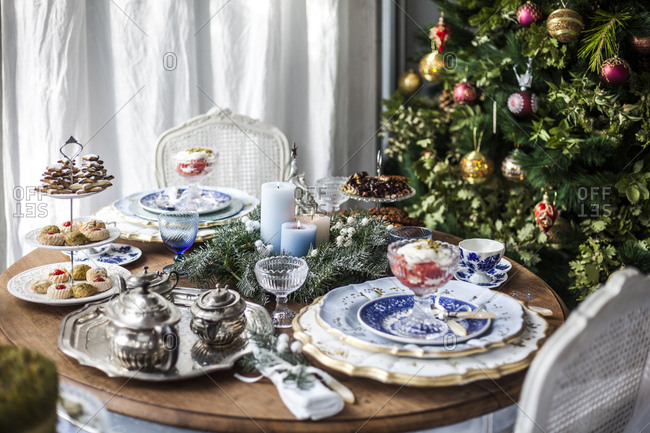 Festive holiday table with cookies and fruit dessert