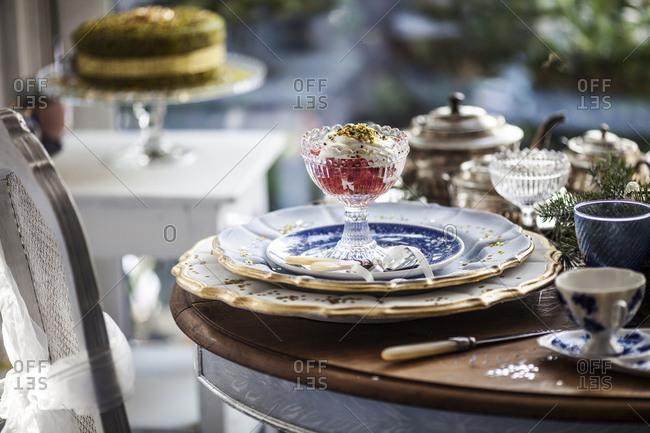 Fruit dessert on festive holiday table