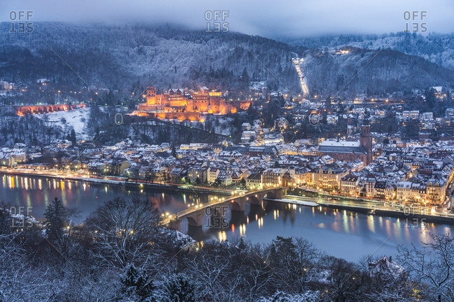 Heidelberg, Germany - January 1, 2017: City lights illuminated in Heidelberg, Germany at night