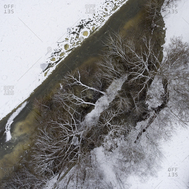 Aerial view of river in Vilnius, Lithuania in winter time
