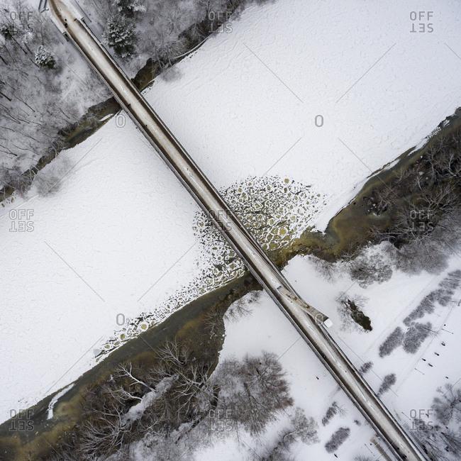 River in Vilnius, Lithuania in winter time