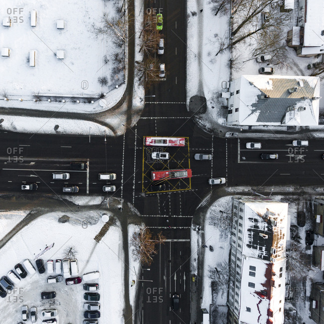 Intersection in Vilnius, Lithuania in wintertime