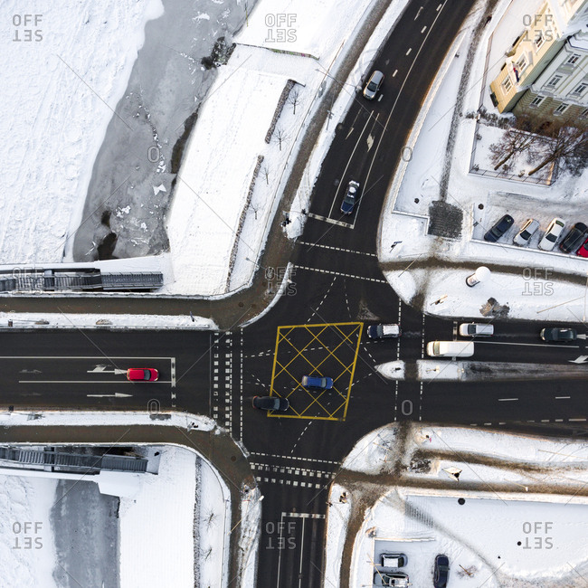 Aerial view of intersection in Vilnius, Lithuania in wintertime