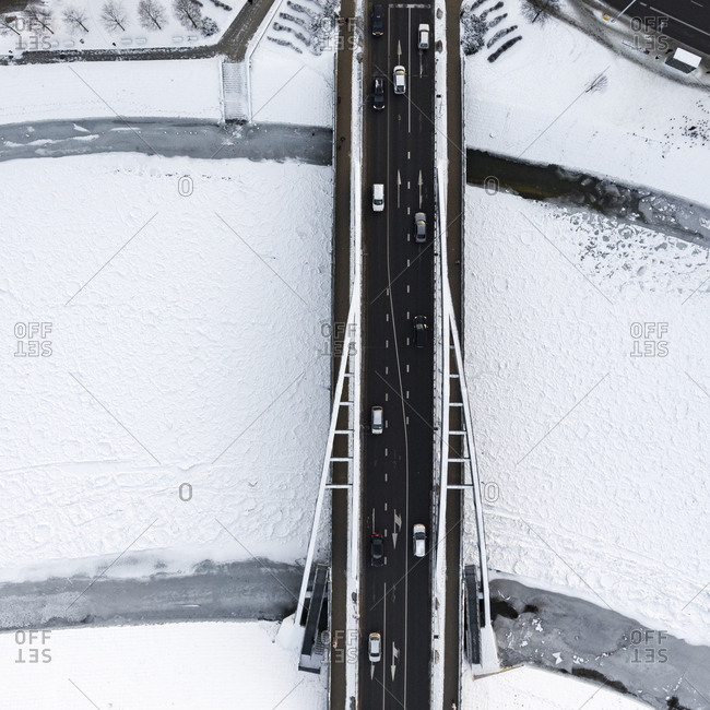 Aerial view of bridge in Vilnius, Lithuania in wintertime