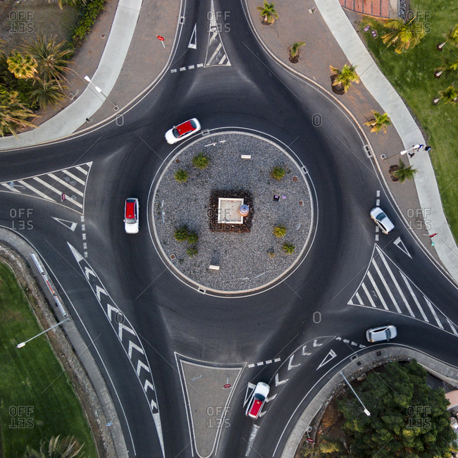 Cars on a roundabout road in Gran Canaria, Canary Islands, Spain