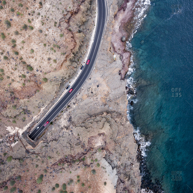 Mountain road by the Atlantic Ocean in Spain