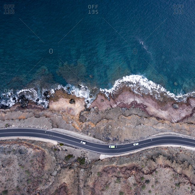 Winding mountain road by the Atlantic Ocean in Spain