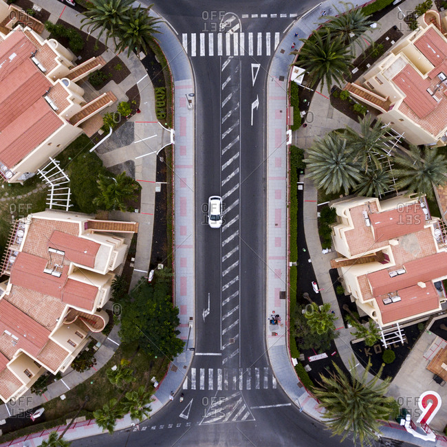 Aerial view of streets in Maspalomas, Gran Canaria, Canary Islands, Spain