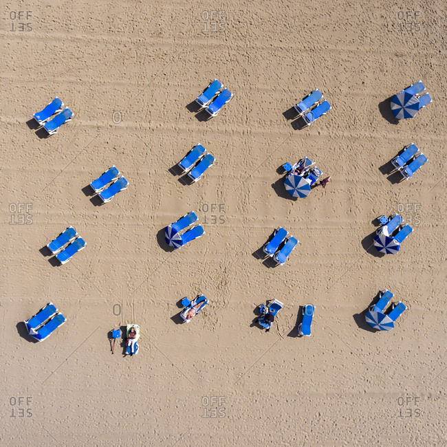 Aerial view of sunbathers on Canteras beach in Las Palmas