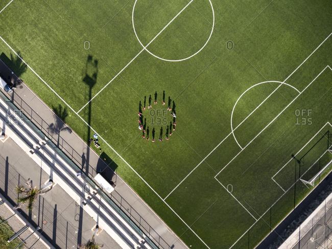 Children at football training