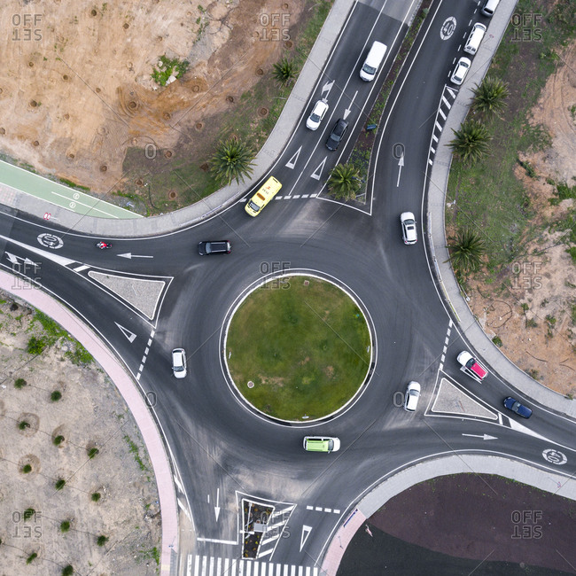 Aerial view of roundabout and streets of Maspalomas